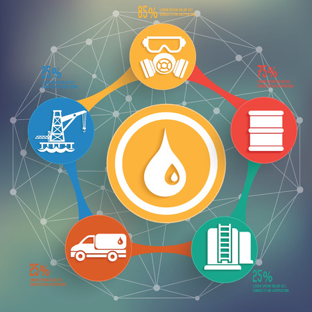 refinery engineer: Oil and industry design on blur background,info graphic design,clean vector