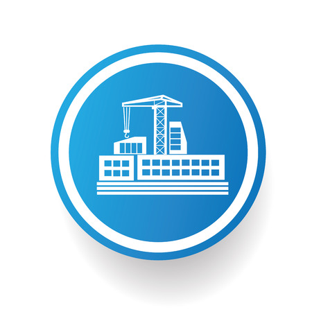 Factory, industry icon on blue button,white background,clean vector
