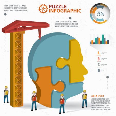 learning icon: Head puzzle info graphic design,three dimension,clean vector