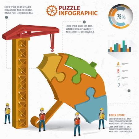three dimension: Umbrella puzzle info graphic design,three dimension,clean vector