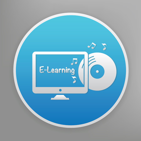tabletpc: E-learning design icon on blue button,clean vector