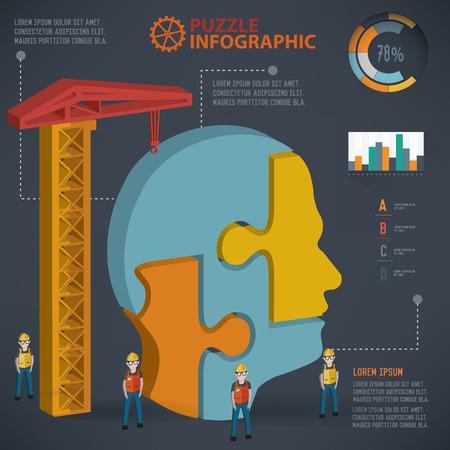 Head puzzle info graphic design,three dimension,clean vector