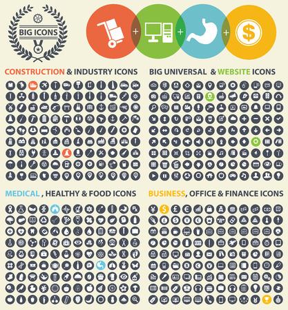 iconos de m�sica: Conjunto de iconos grandes, Industria, Construcci�n, Medicina, Log�stica, Finanzas y el icono empresarial conjunto, vector limpia