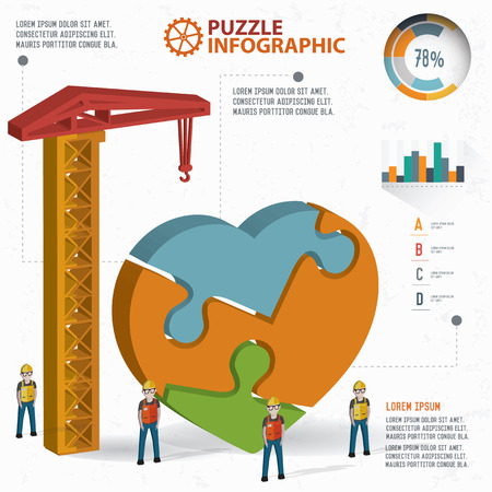 heart puzzle: Heart puzzle info graphic design,three dimension,clean vector Illustration