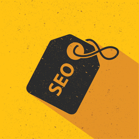 search engine optimized: SEO icon design on yellow background, flat design. Clean vector. Illustration