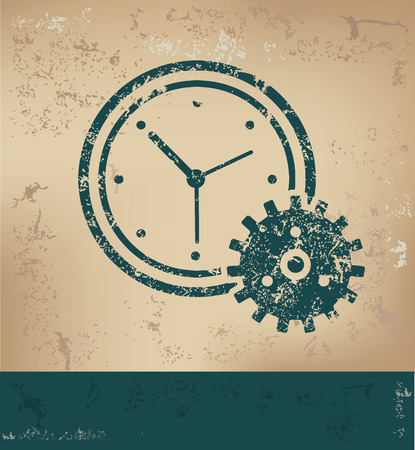 old paper background: Clock design on old paper background,grunge concept,vector