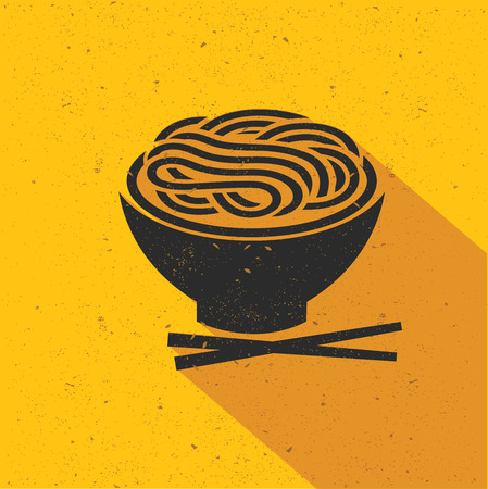 Noodle icon design on yellow background,flat design,clean vector Çizim