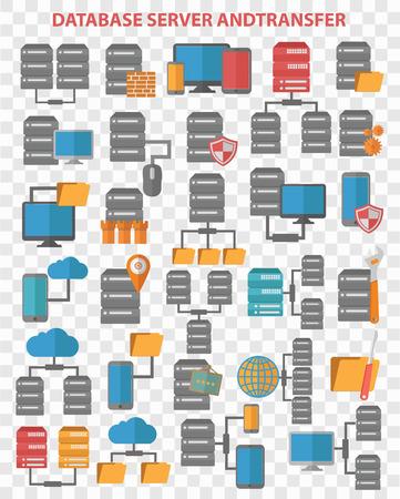 anywhere: Database server, data center, computer icon set design. Clean vector.