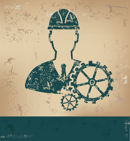 lathe: Engineer design on old paper background,grunge concept,vector