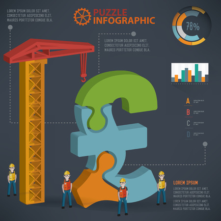 Finance puzzle design,info graphic design,clean vector