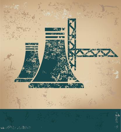 industria petroquimica: Diseño de la Industria en el fondo de papel viejo, el concepto del grunge, el vector