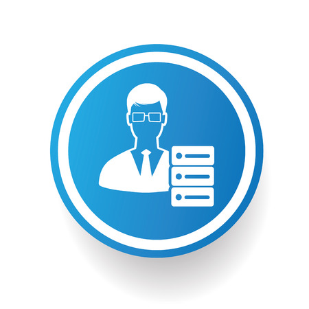 admin: Admin icon on blue button,white background,clean vector