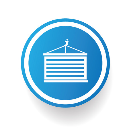 dockyard: Container icon design on blue button,white background,clean vector