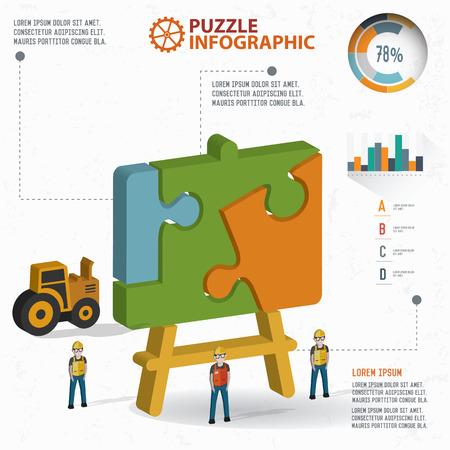 three dimension: Blackboard puzzle info graphic design,three dimension,clean vector