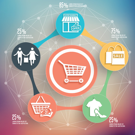Shopping info graphic design, Business concept design. Clean vector.