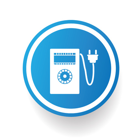 metrology: Electricity meter icon design on blue button,white background,clean vector Illustration
