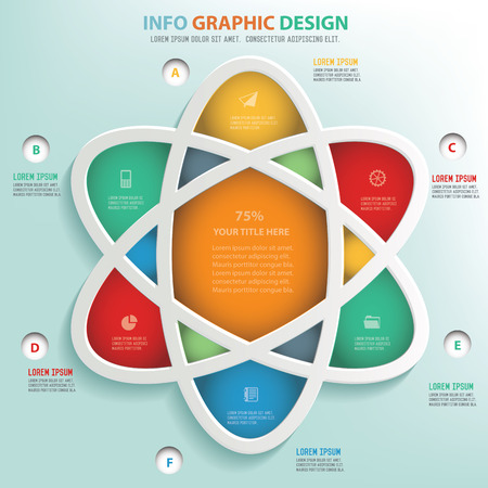 nuclear vector: Atom info graphic design, Business concept design. Clean vector.
