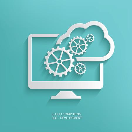 クラウド ・ コンピューティング青い背景がきれいなベクター デザイン