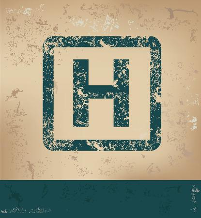old paper background: H design on old paper background,grunge concept,vector