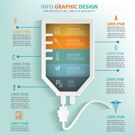 iv drip: Saline info graphic design, Business concept design. Clean vector.