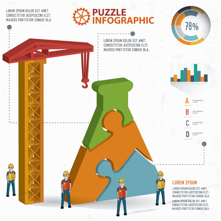 chemically: Science puzzle design, info graphic design. Clean vector.