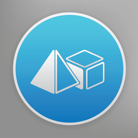 solids: Geometry design icon on blue button,clean vector