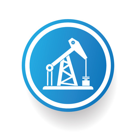 petroleum blue: Oil industry icon on blue button,white background,clean vector Illustration