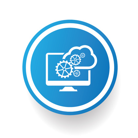 smartphone icon: Cloud computing icon on blue button,white background,clean vector