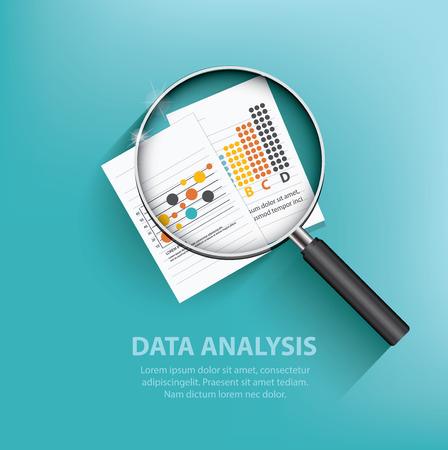 revisando documentos: Diseño de análisis de negocios sobre fondo azul, vector limpia Vectores