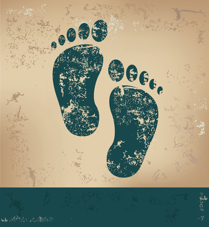 alibi: Foots design on old paper background,grunge concept,vector