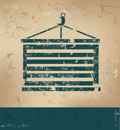 dockyard: Container design on old paper background,grunge concept,vector