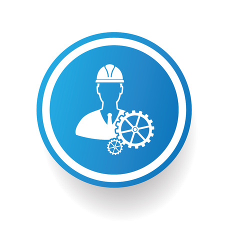 engineering icon: Engineering icon on blue button,white background,clean vector