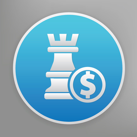 overthrow: Chess design icon on blue button,clean vector Illustration