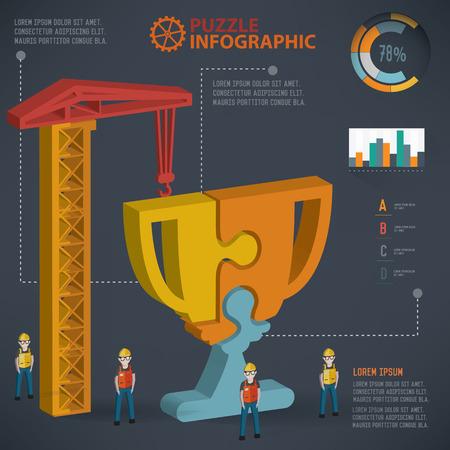 three dimension: Trophy puzzle info graphic design,three dimension,clean vector