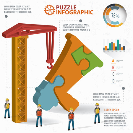 three dimension: Megaphone puzzle info graphic design,three dimension,clean vector