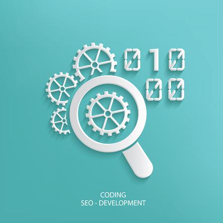 metadata: Coding design on blue background,clean vector Illustration