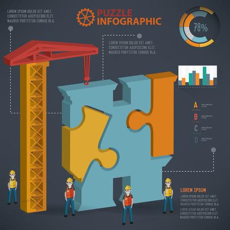 three dimension: Binocular puzzle info graphic design,three dimension,clean vector