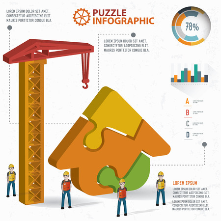 abode: Home puzzle design, info graphic design. Clean vector.