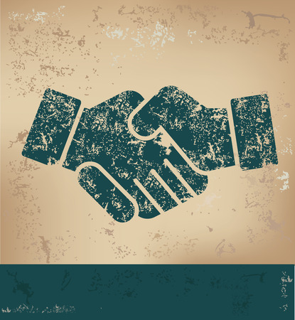 shakes: Hand shake design on old paper background,grunge concept,vector