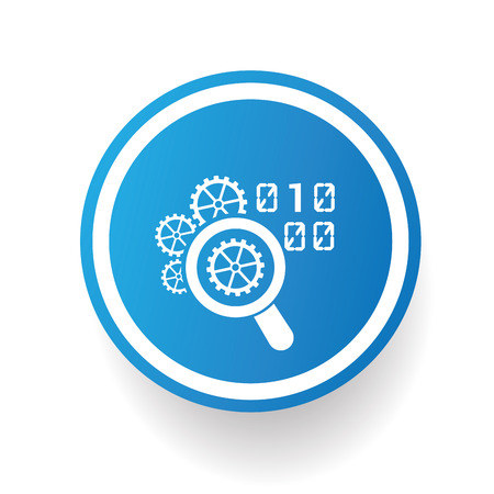 stylesheet: Coding icon on blue button,white background,clean vector