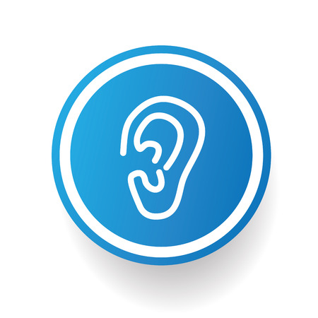visual perception: Ear design icon on blue button,white background,clean vector