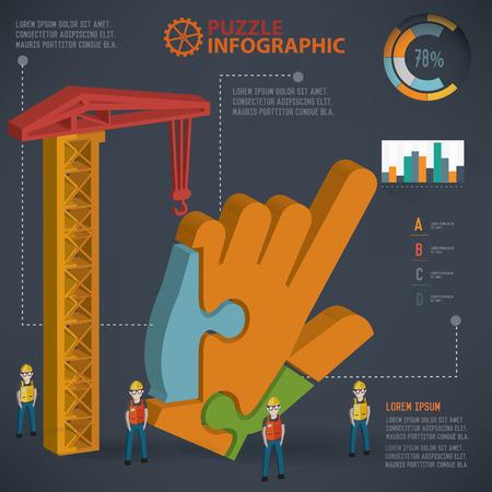 Click puzzle info graphic design,three dimension,clean vector Illustration