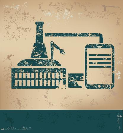 Industry design on old paper background,grunge concept,vector Stock Illustratie