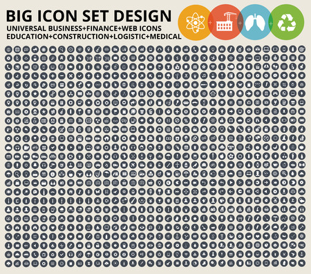 Big Icon set. Universal website,Construction,industry,Business,Medical,healthy and ecology icons Çizim