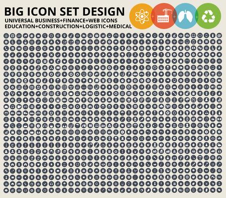 Conjunto de iconos grandes. Iconos de sitio Web universal, construcción, industria, negocios, medicina, salud y ecología Ilustración de vector