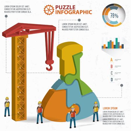 three dimension: Science puzzle info graphic design,three dimension,clean vector Illustration