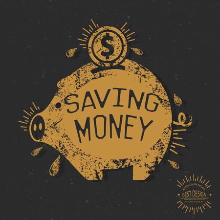 Diseño de ahorro de dinero, el concepto retro, diseño del grunge en el fondo antiguo, limpio vector