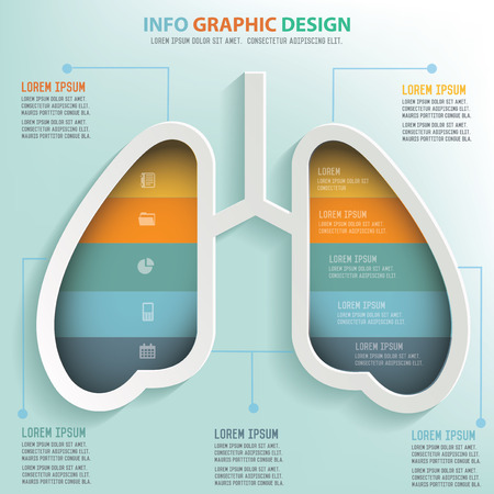 sistema: Informaci�n de pulm�n dise�o gr�fico, dise�o de concepto de negocios. Vector Limpio.