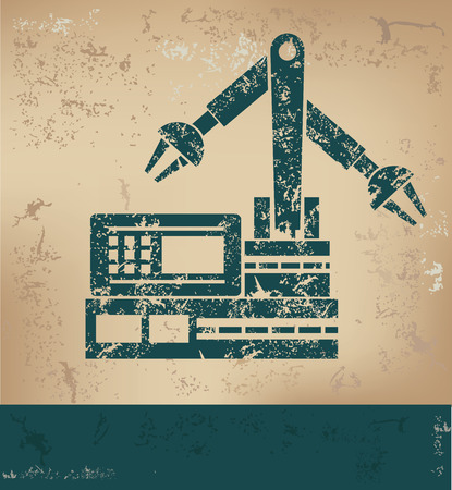 lathe: Robot,mechanic design on old paper background,grunge concept,vector Illustration