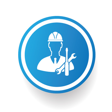 industrial safety: Engineering, industry icon on blue button,white background,clean vector Illustration